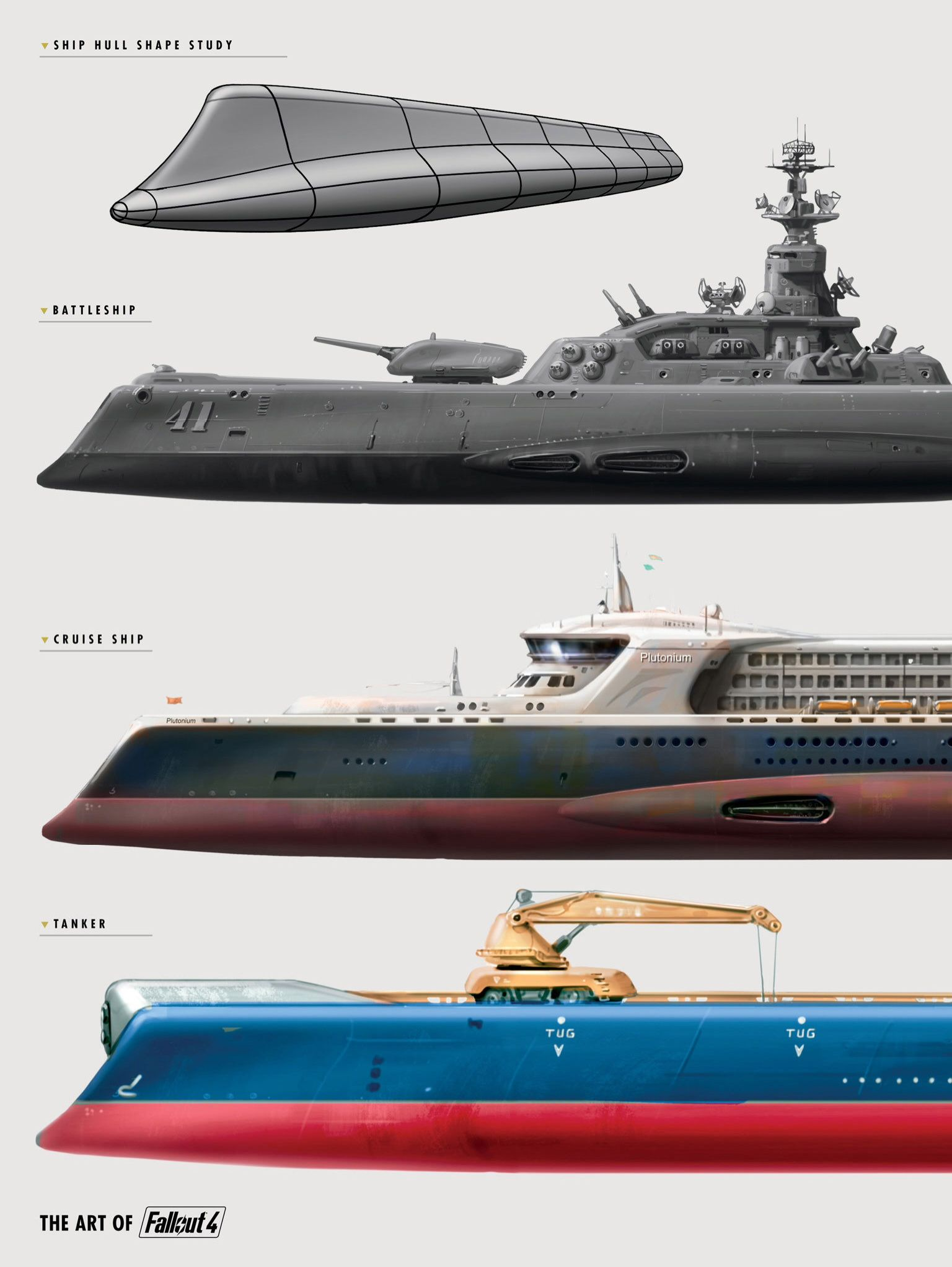 Fallout 4 Concept Ship Hull Shape Study, Battleship