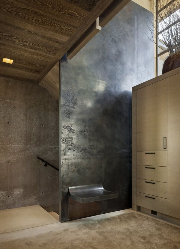 Faux Finish Metallic Silver Shelter Minimal Interior