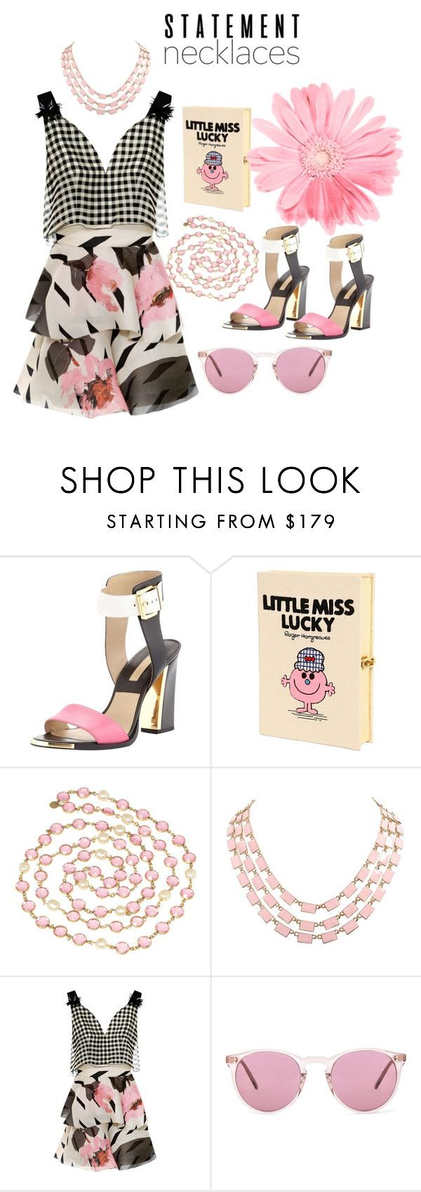 """""""Untitled #877"""" by sunnydays4everkh ❤ liked on Polyvore featuring Michael Kors, Olympia Le-Tan, Chanel, Delpozo, Oliver Peoples and statementnecklaces"""