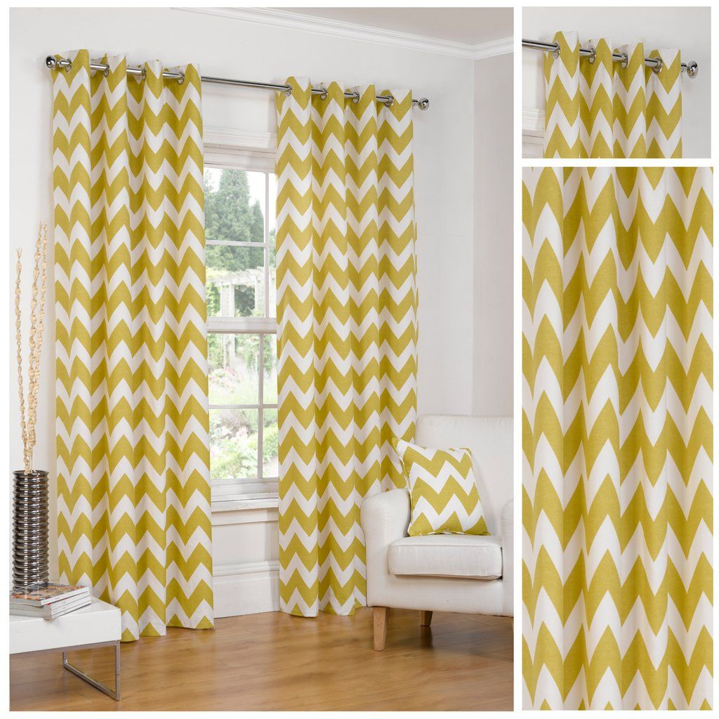 Windsor teal eyelet curtains harry corry limited - Chevron Ochre Eyelet Ringtop Half Panama Fully Lined Curtains By Hamilton Mcbride