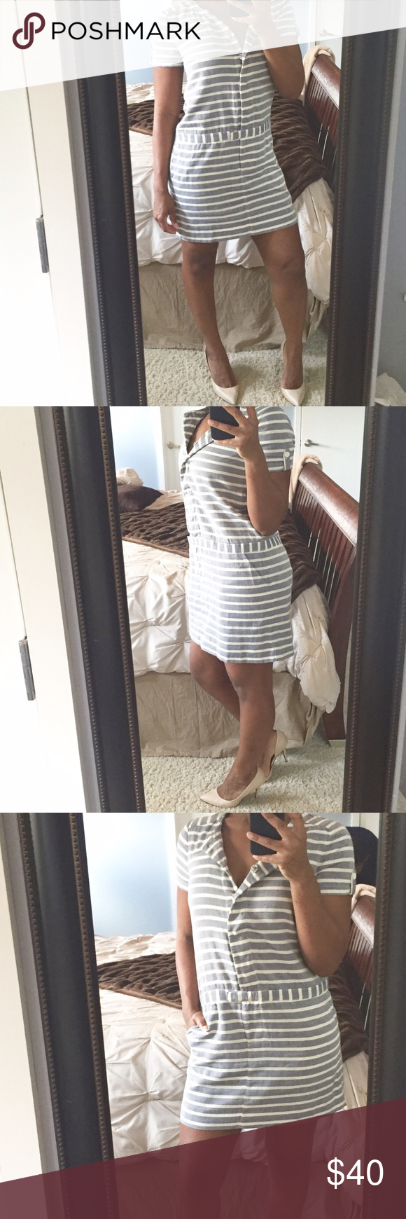 Casual Shift Dress!!! Super cute shift styled dress featuring functioning buttons down the front, one top pocket and two functioning side pockets! Can be dressed up or down! J. Crew Dresses