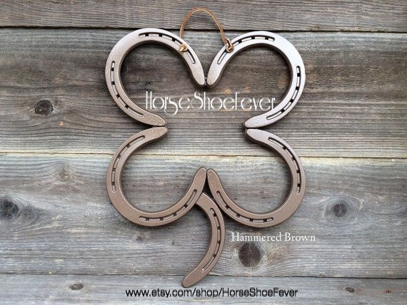 custom color lucky 4 leaf clover irish decorative horseshoe art