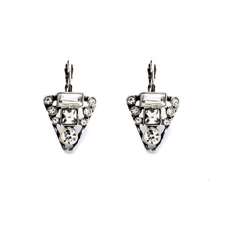 2017 Costumes Jewelry For Women Antique Silver Art Deco Crystals On Stud Earrings