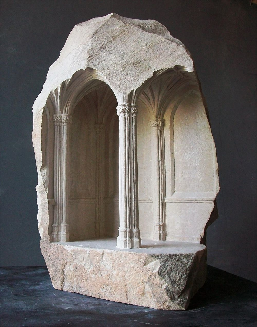 Miniature Medieval Interiors Carved into Raw Marble Blocks by Mathew Simmonds