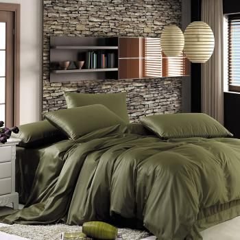 wonderful gray green bedroom bedding | The solid colors create an atmosphere of peacefulness that ...
