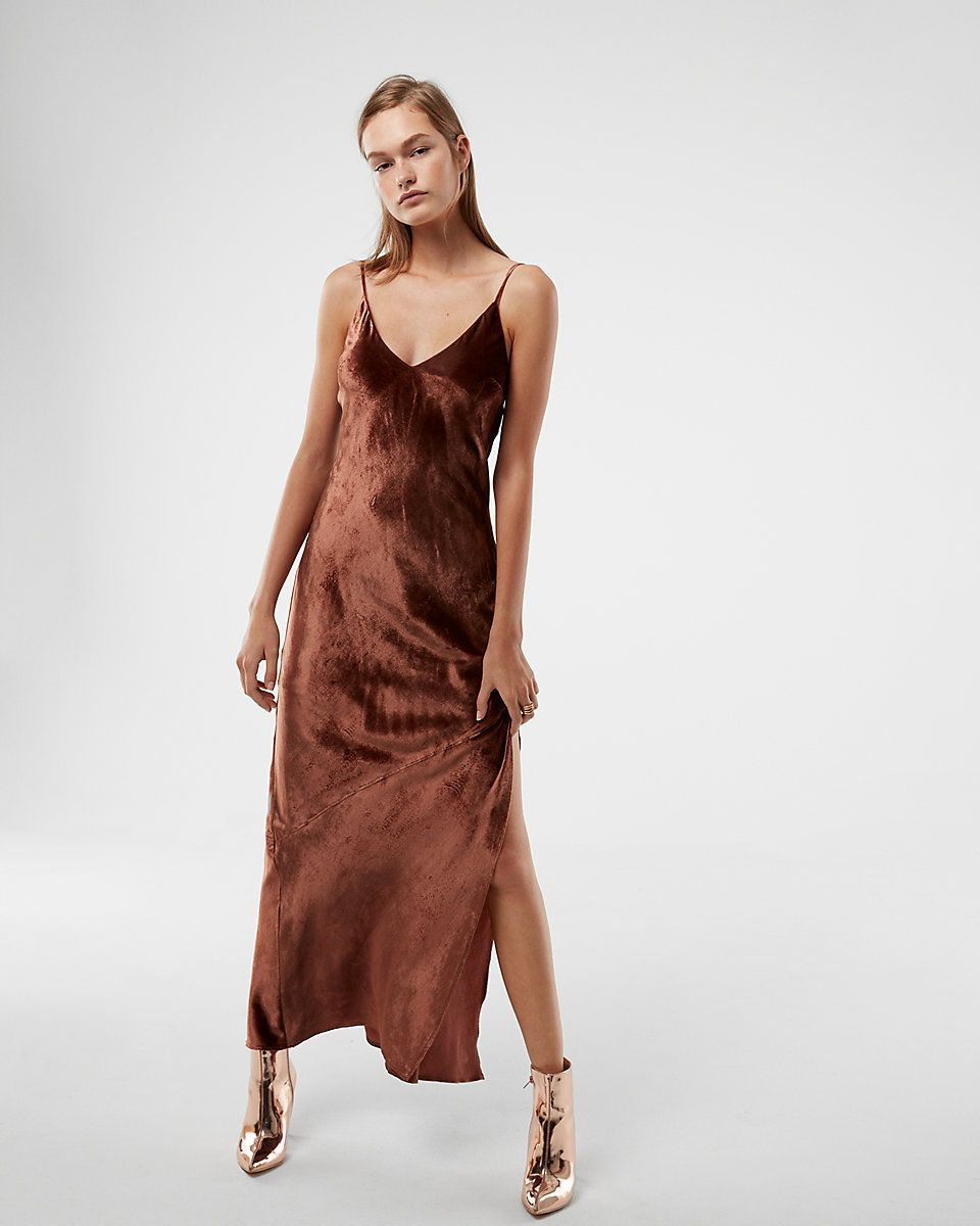 A showstopping maxi dress that wows with allover velvet a sexy