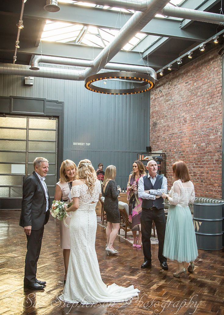 Wedding guests at Wylam Brewery in Newcastle Upon Tyne
