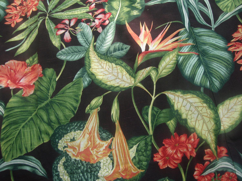 Vintage Barkcloth Fabric Shower Curtain Tropical By Funknjunkinc