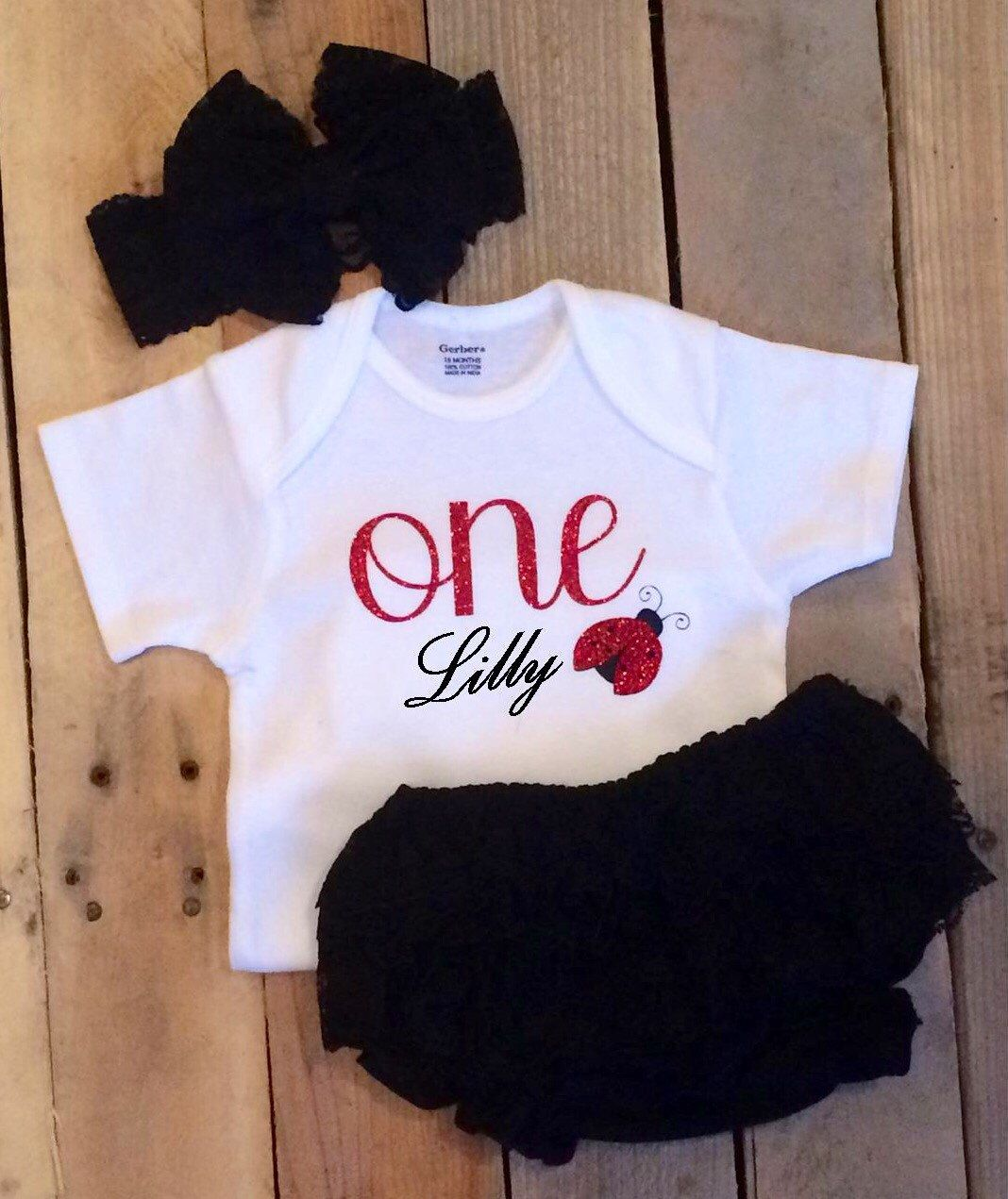 Baby Girl 1st Birthday Outfit Ladybug 1st Birthday Bloomers Set
