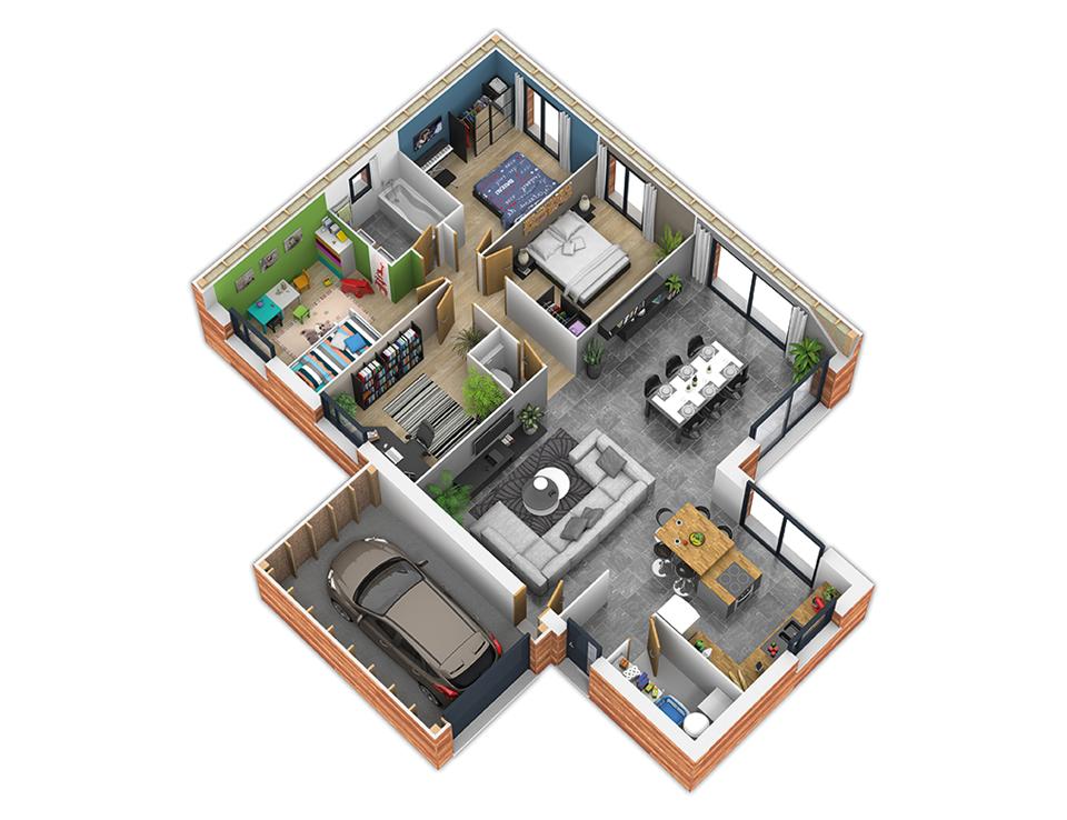 Plan maison ossature bois toit plat for Plan ossature bois gratuit