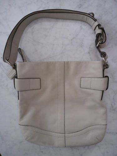 Coach Cream Leather Cross Body Purse Hobo Bag G05Q 1452 Excellent Authentic   df40b3fa7ce66