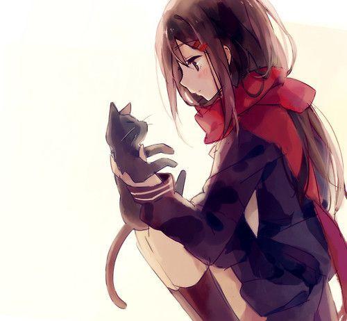 Kuro Neko And Red Scarf สาวห แมว สาวอน เมะ การวาดดวงตา
