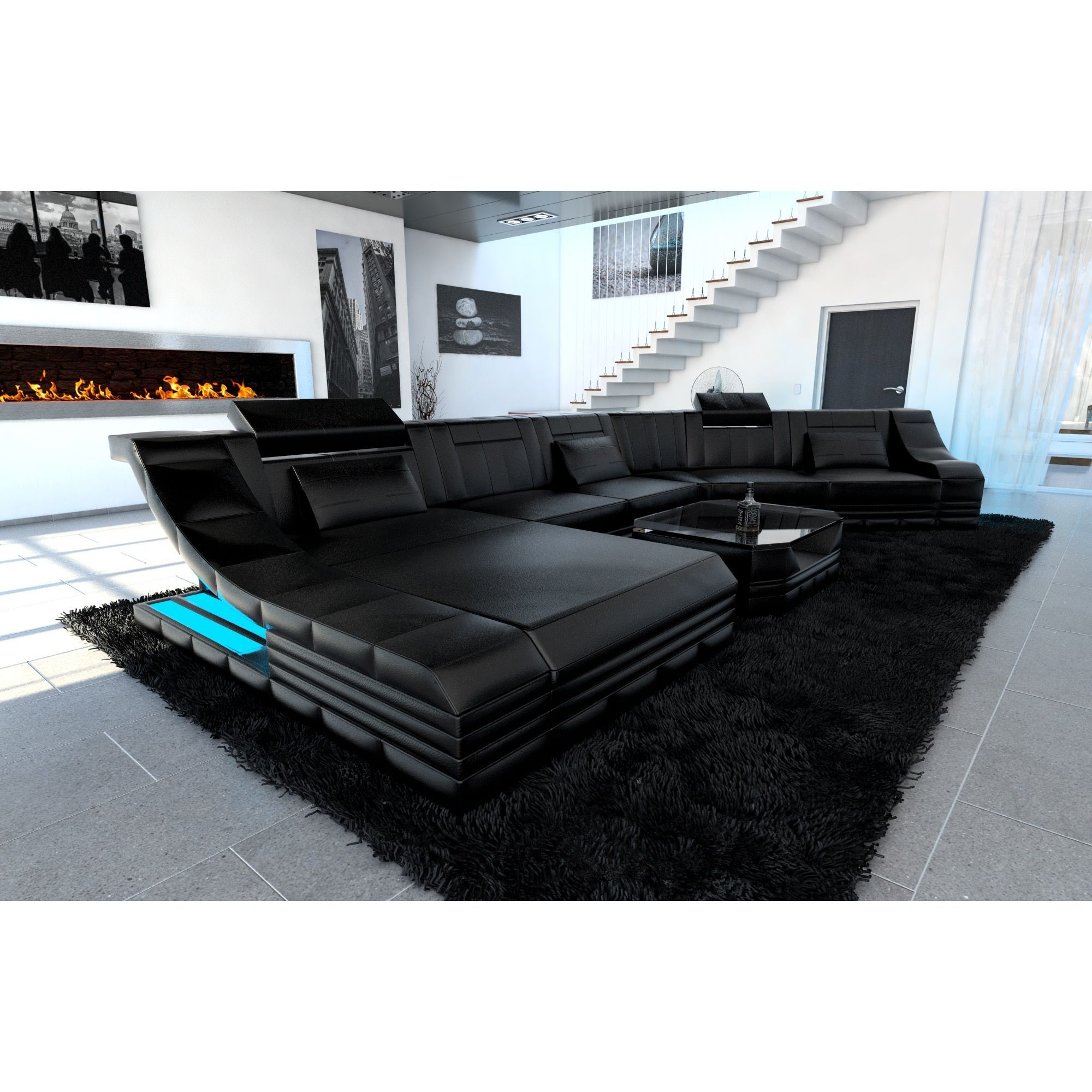 Luxury Sectional Sofa New York CL LED Lights Sectional Sofa Black