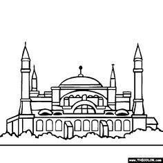 Hagia Sophia Istanbul Turkey Coloring Page Mimari Cizim