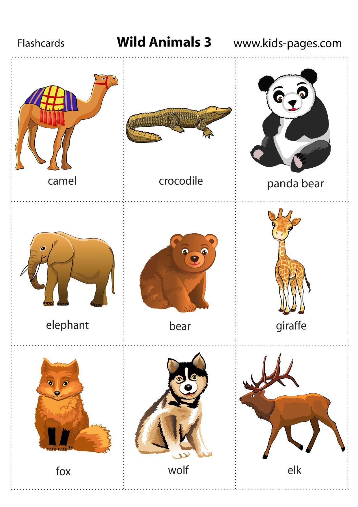 Printable Flashcard With Wild Animals For Parents And