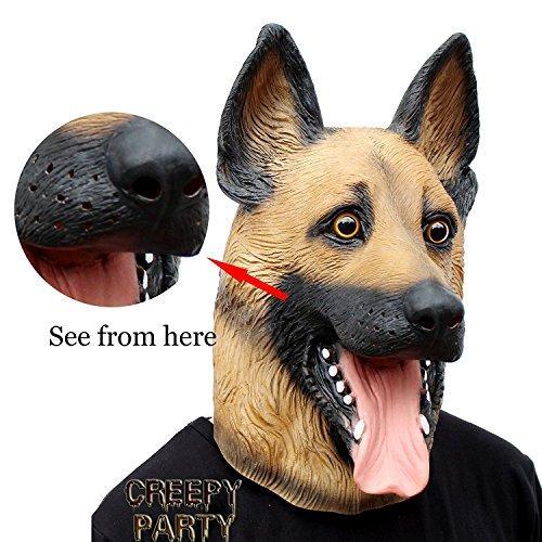 bbccea18f10 Halloween Costume Super Bowl Party Latex Dog Head Mask (German ...