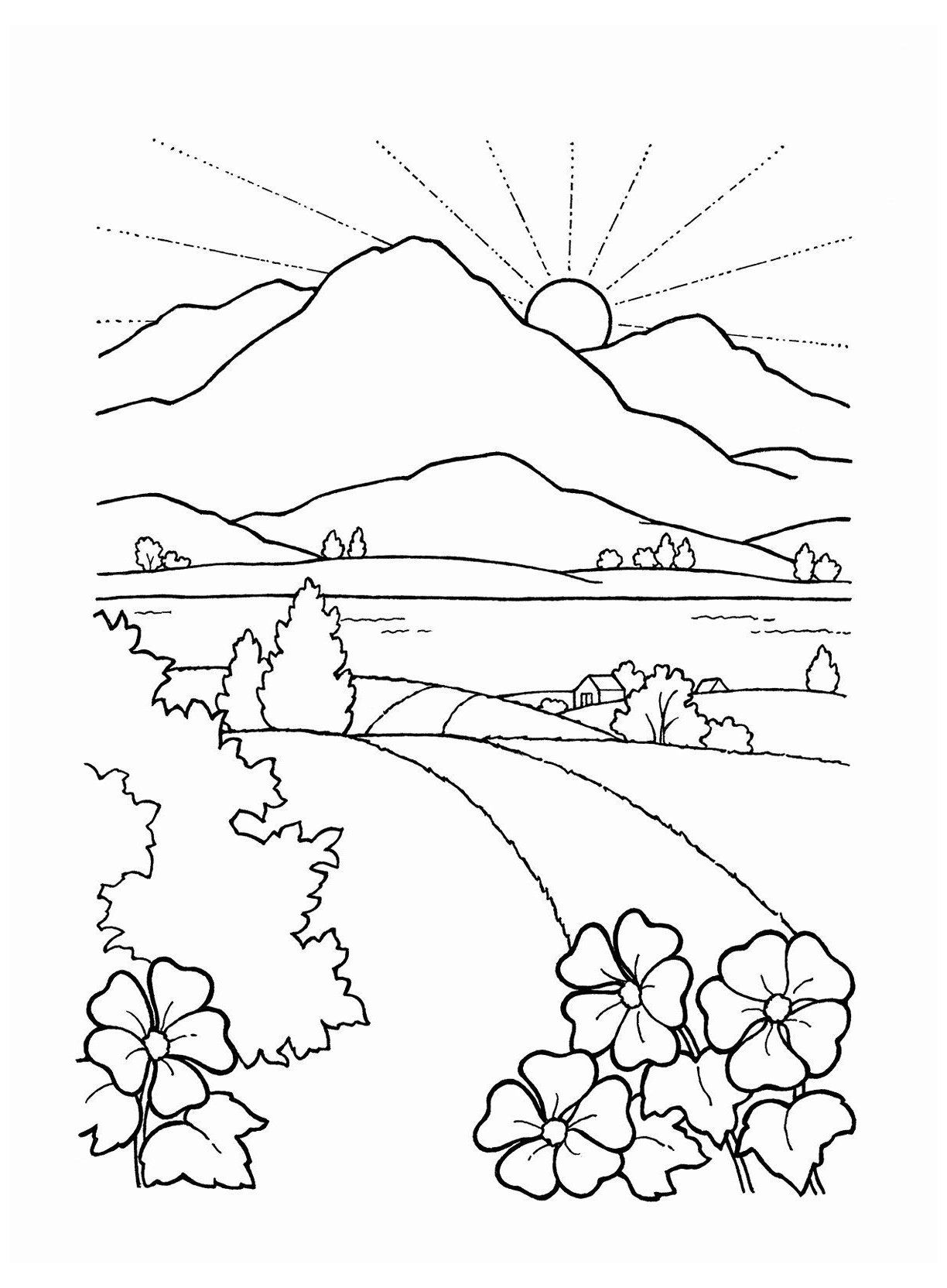 Sunset Coloring Pages For Adults Awesome Black And White Sunset Drawing At Getdrawings Sunset Col In 2020 Coloring Pages Nature Coloring Pages Scenery Drawing For Kids