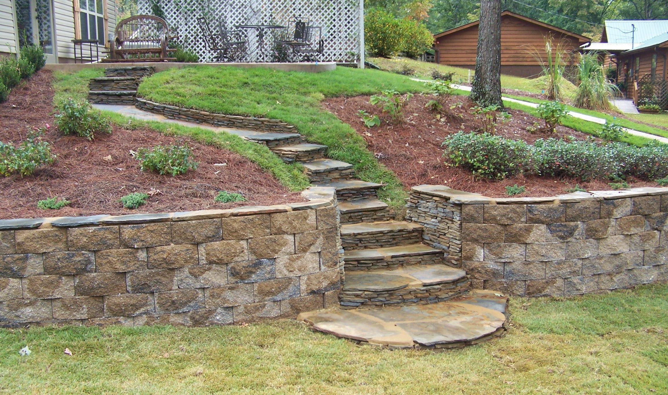 custom terracing with landscape block - Google Search ... on Terraced Yard Landscape Ideas id=24163