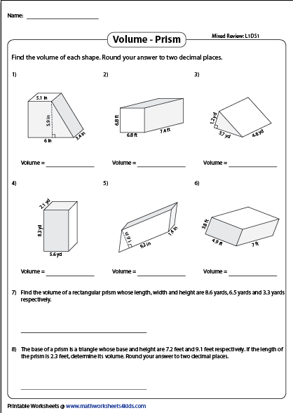 Volume Of A Prism Worksheets Mixed Review Decimal Review Volume Composite Shapes