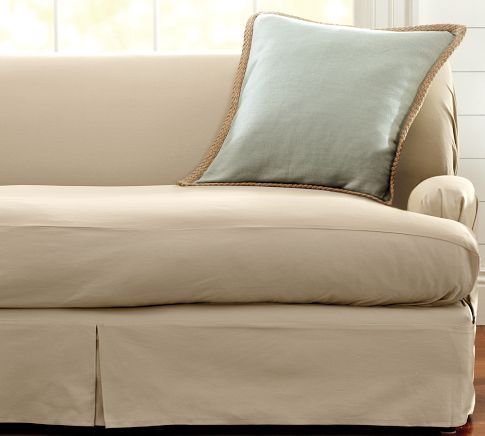 Separate Seat T Arm Cushion Loose Fit Slipcover   Twill | Pottery Barn  Parchment