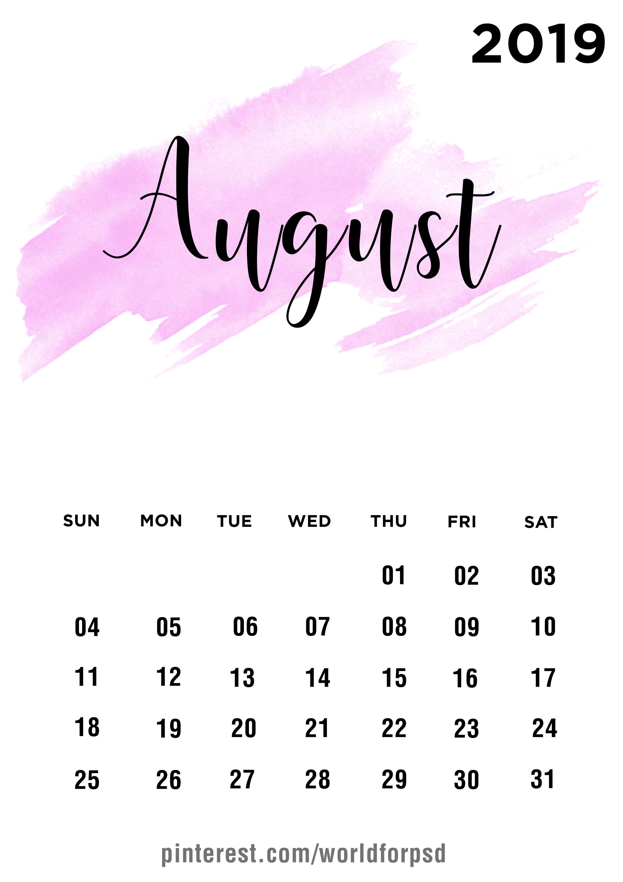 August 2019 Calendar Design Calendar Calendarideas Newyear