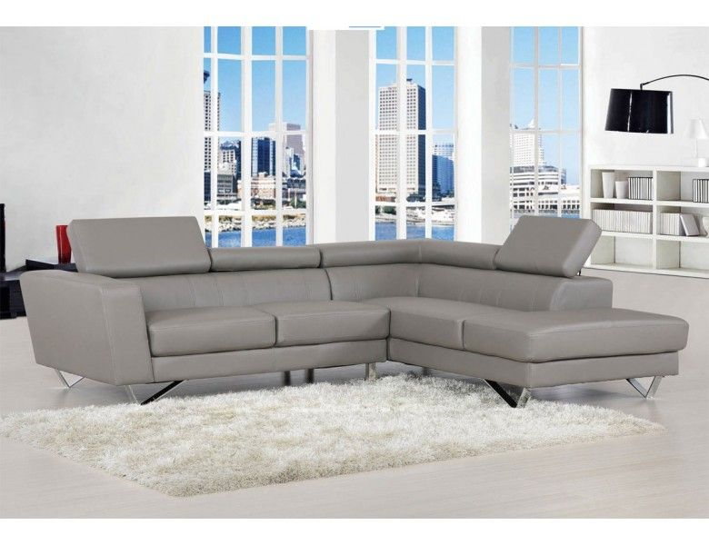 Delia Grey Leather Modern Sectional With Images Modern Sofa Sectional Modern Leather Sectional