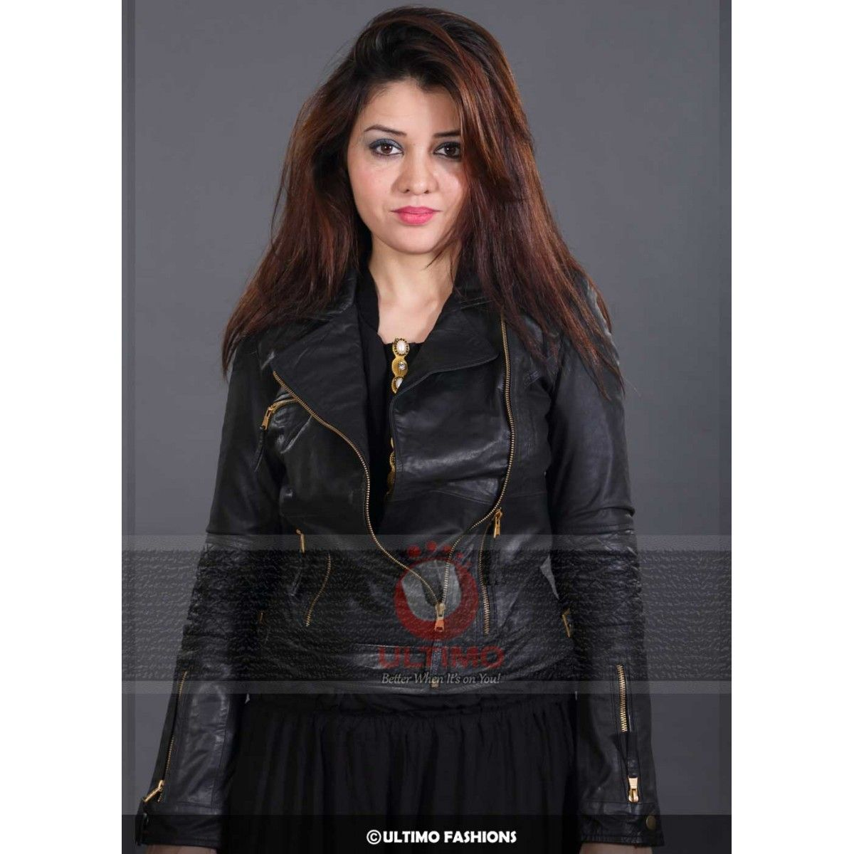 Eclipse Zara Black Leather Jacket For Women Leather