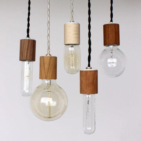 Wood veneered pendant light with bulb