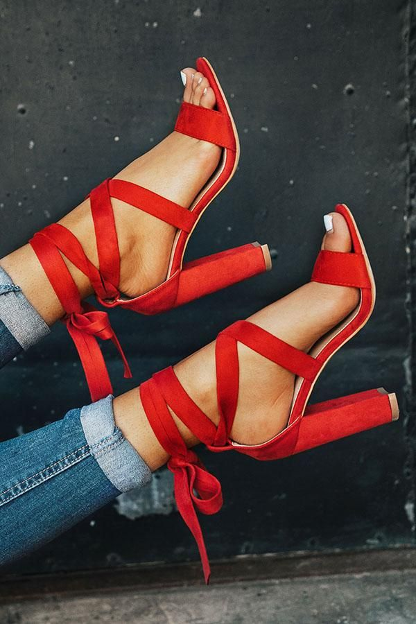 The Mia Faux Suede Lace Up Heel in Red #redshoes