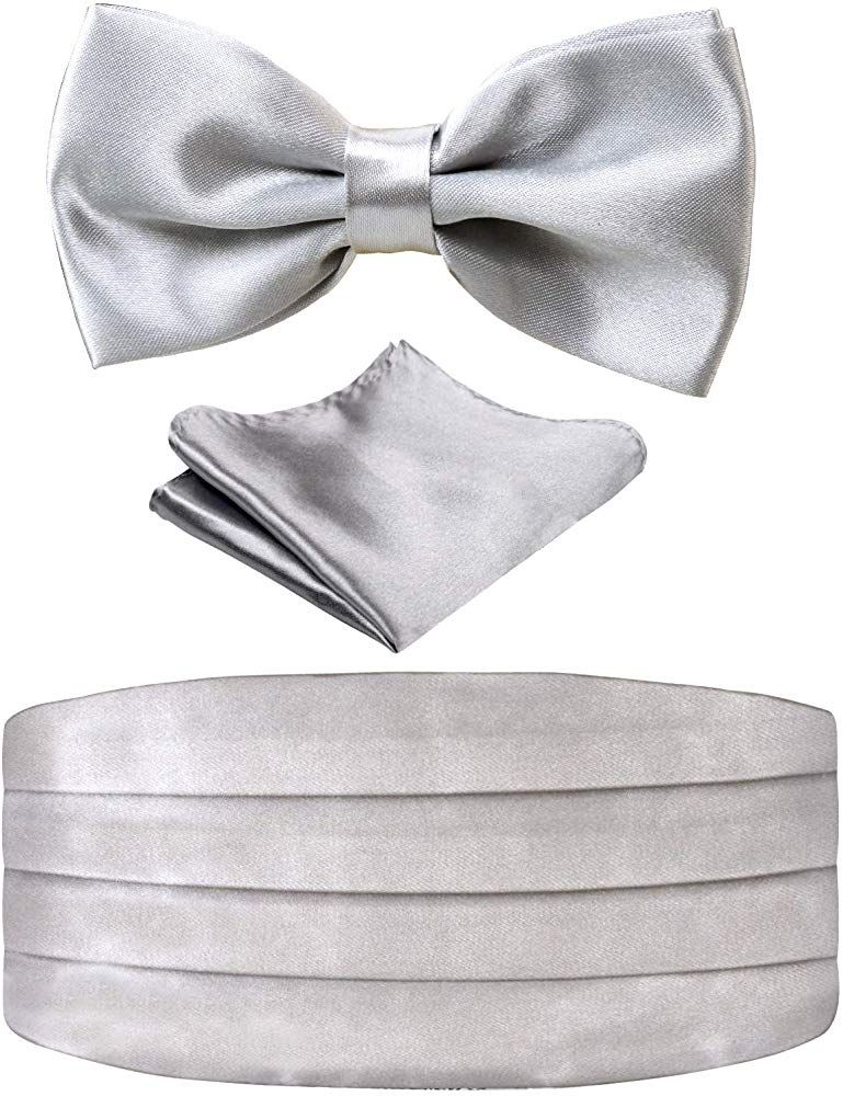 Mens Solid Satin Bow Tie /& Pocket Square /& Cummerbund Set-Champagne