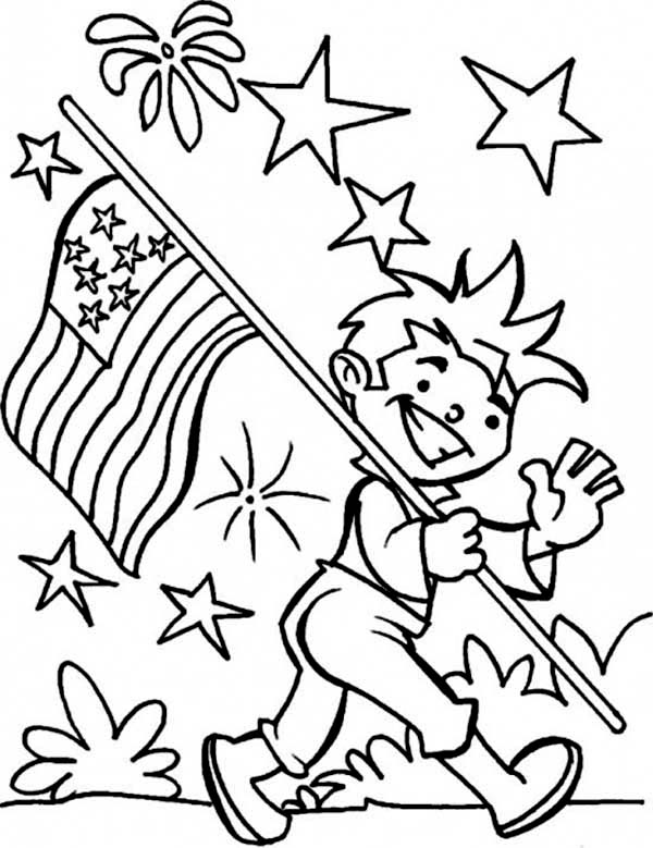 Carrying American Flag On Independence Day Coloring Page - Download & Print  Online Coloring Page… American Flag Coloring Page, Flag Coloring Pages, Coloring  Pages