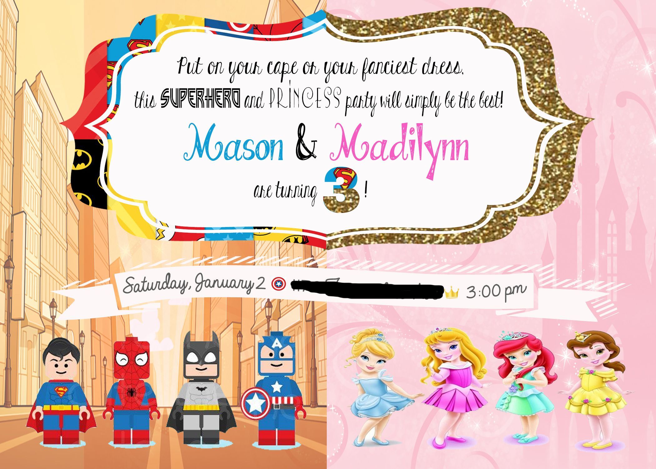Princess And Superhero Party Invitation Template 5