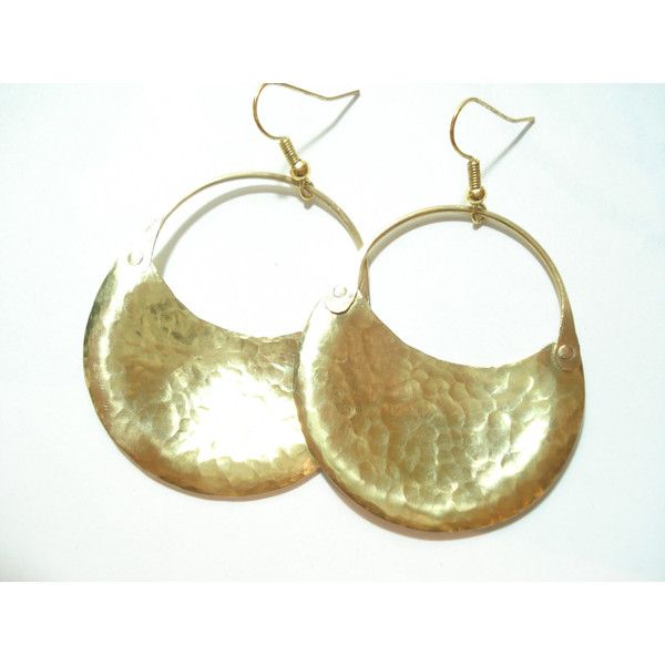 Bronze Hammered Hoop Earrings Handmade Crescent Metalwork Earrings... ($27) ❤ liked on Polyvore featuring jewelry and earrings