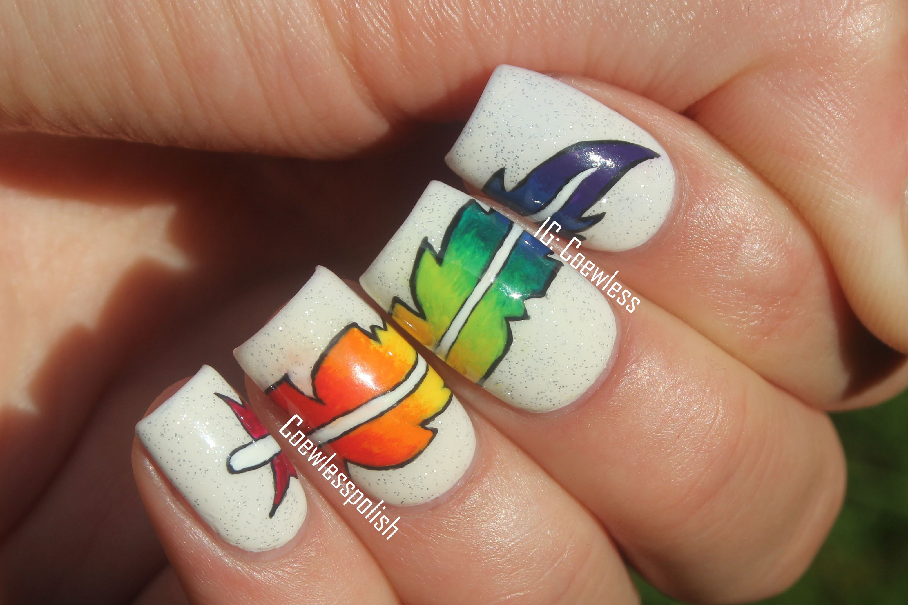 Coewless Nail Polish: rainbow feather nails