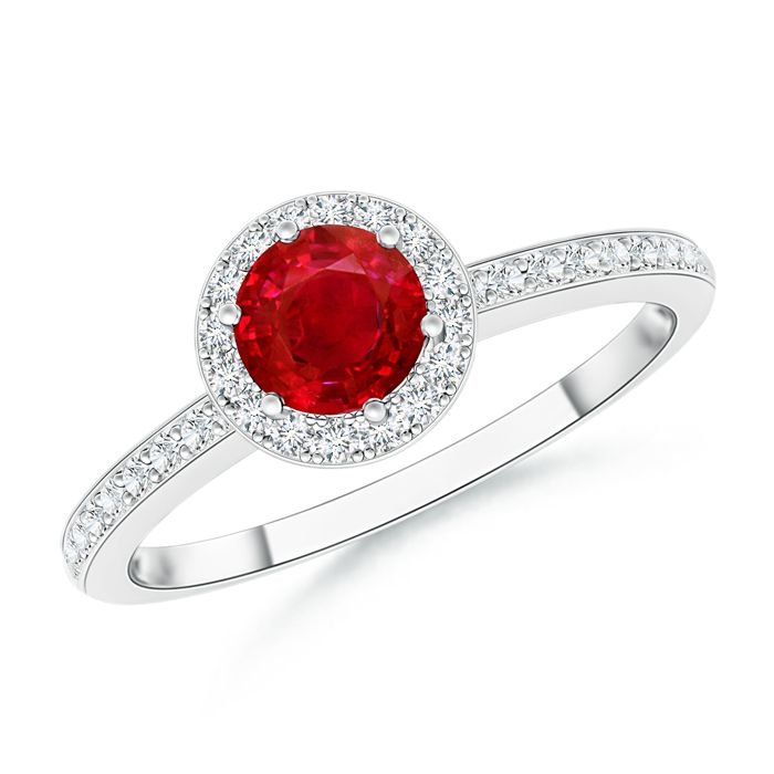 Angara Pear Ruby Halo Engagement Ring With Diamond Shoulders in Yellow Gold rsOGAUu