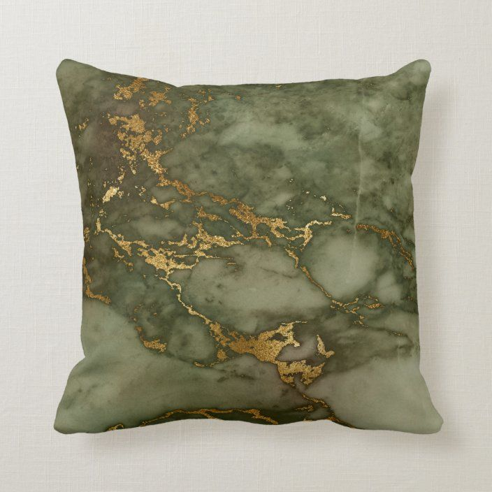 Luxury Olive Green and Gold Marble Throw Pillow | Zazzle.com