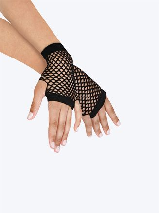 Ladies Long Black Fishnet Halloween Gloves one Size
