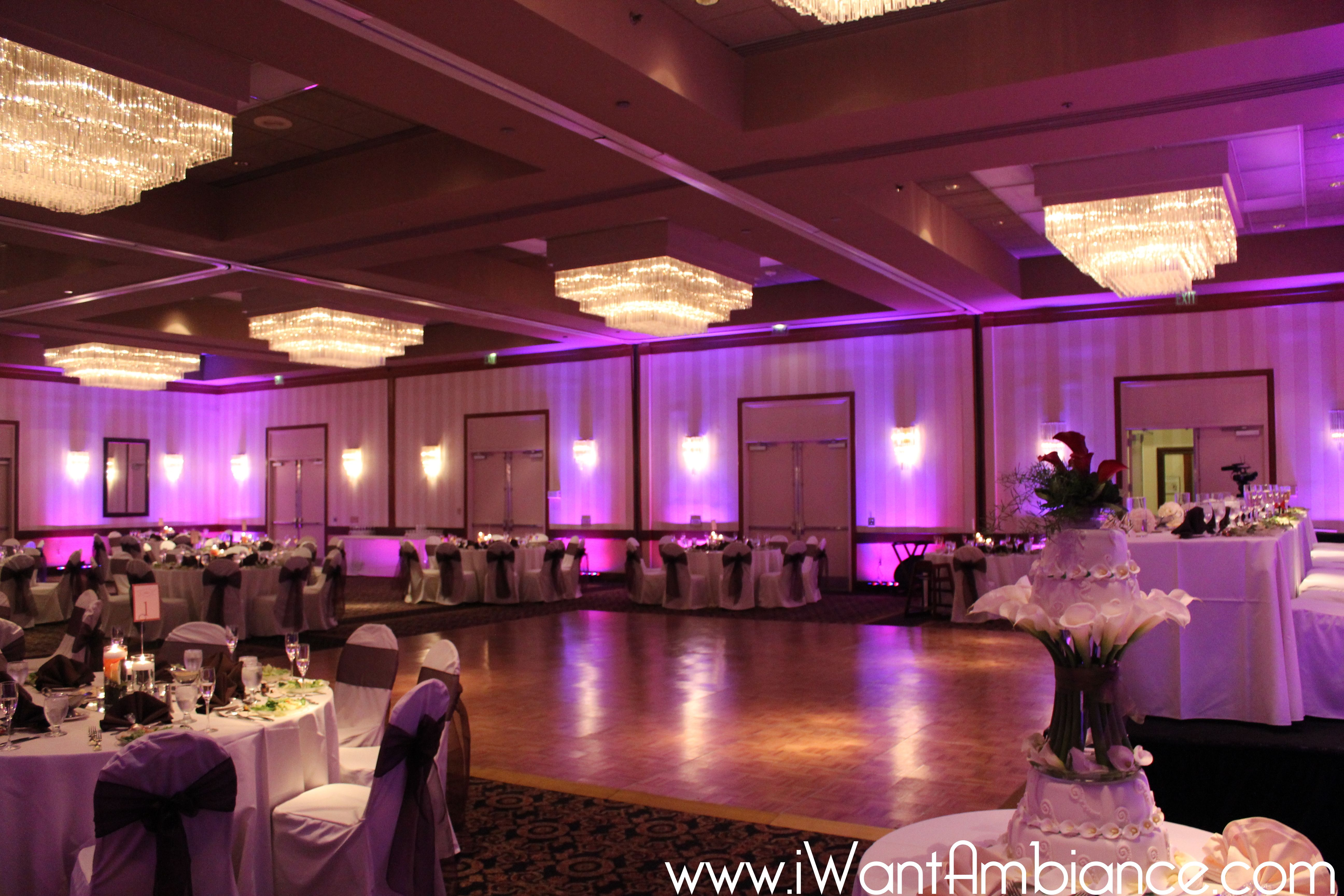 Uplighting for a wedding reception at the
