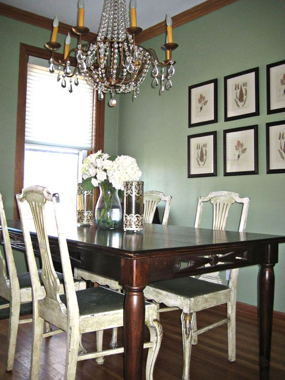 Sage Green Dining Room Ideas Part - 23: Colors Are A Bit Off, But You Can See That They Choose To Contrast A Sage  Green Wall With White Chairs, And Then Match The Cushions To The Walls.