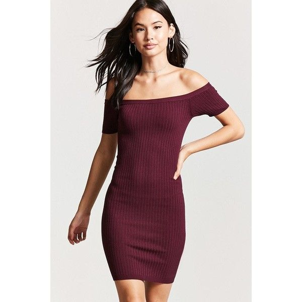 727ff90e9573 Forever21 Ribbed Off-the-Shoulder Dress ( 18) ❤ liked on Polyvore featuring  dresses