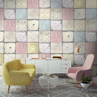 Pastel Tin Tile Magnolia, Pastels and Wallpaper - fliesenspiegel küche überkleben