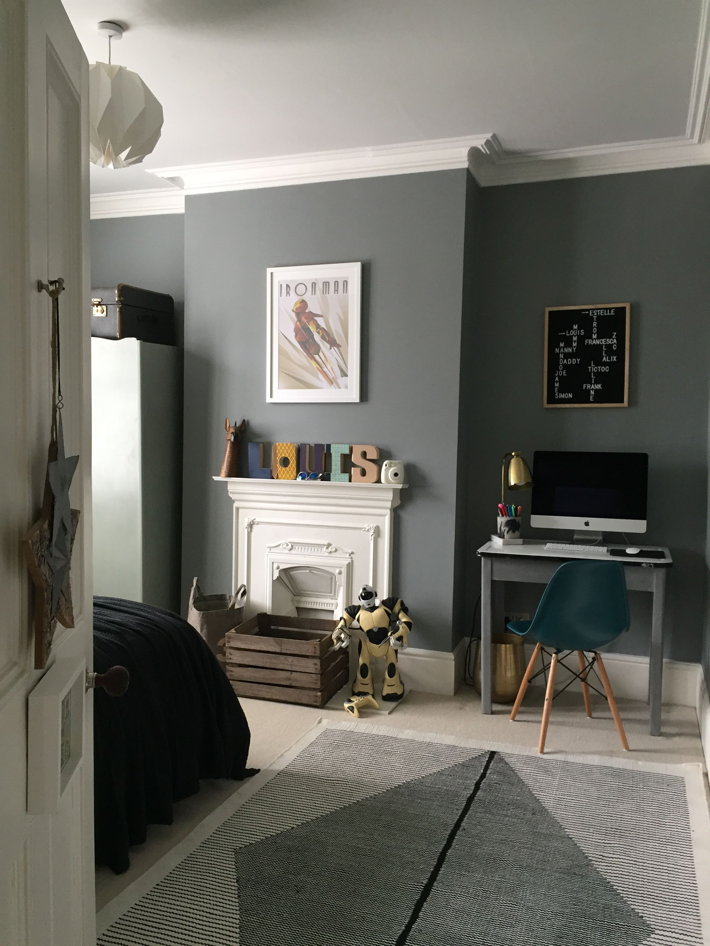 Little Greene Paint - Grey teal #226; preteen boy bedroom