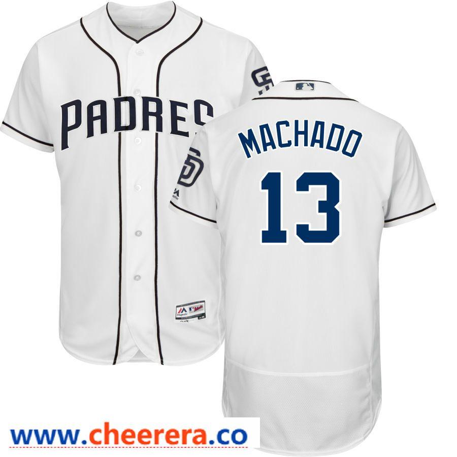 5a812e5c3c7 Men s San Diego Padres  13 Manny Machado Majestic White Official Flex Base Player  Jersey