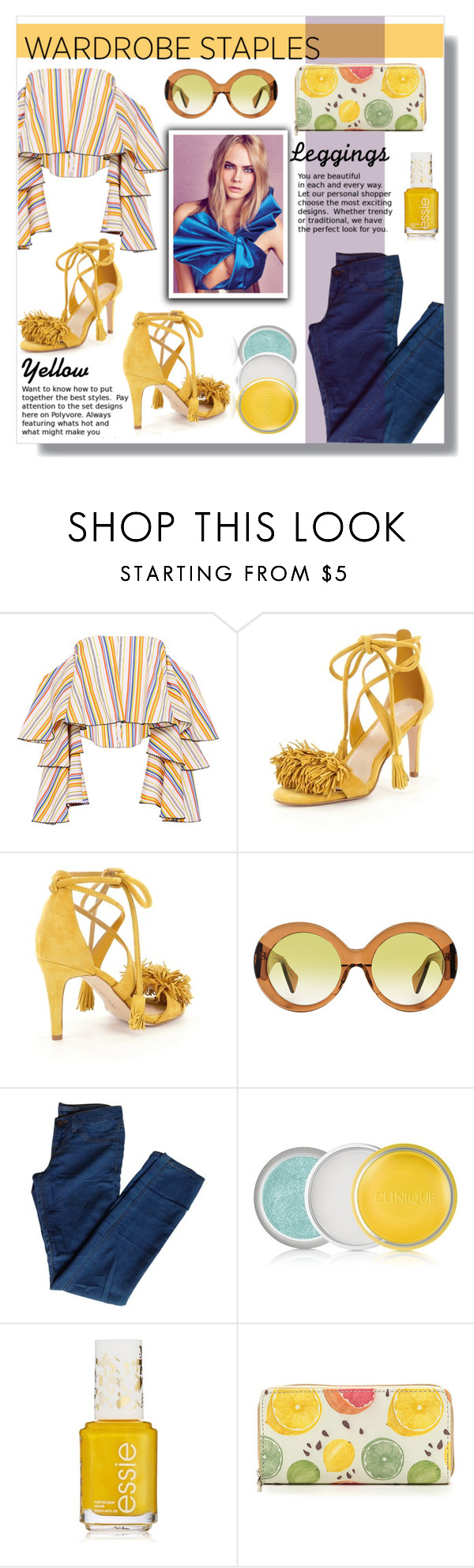"""""""Leggins"""" by steph-soto ❤ liked on Polyvore featuring Caroline Constas, Gianni Bini, Versace, J Brand, Clinique, Leggings and WardrobeStaples"""