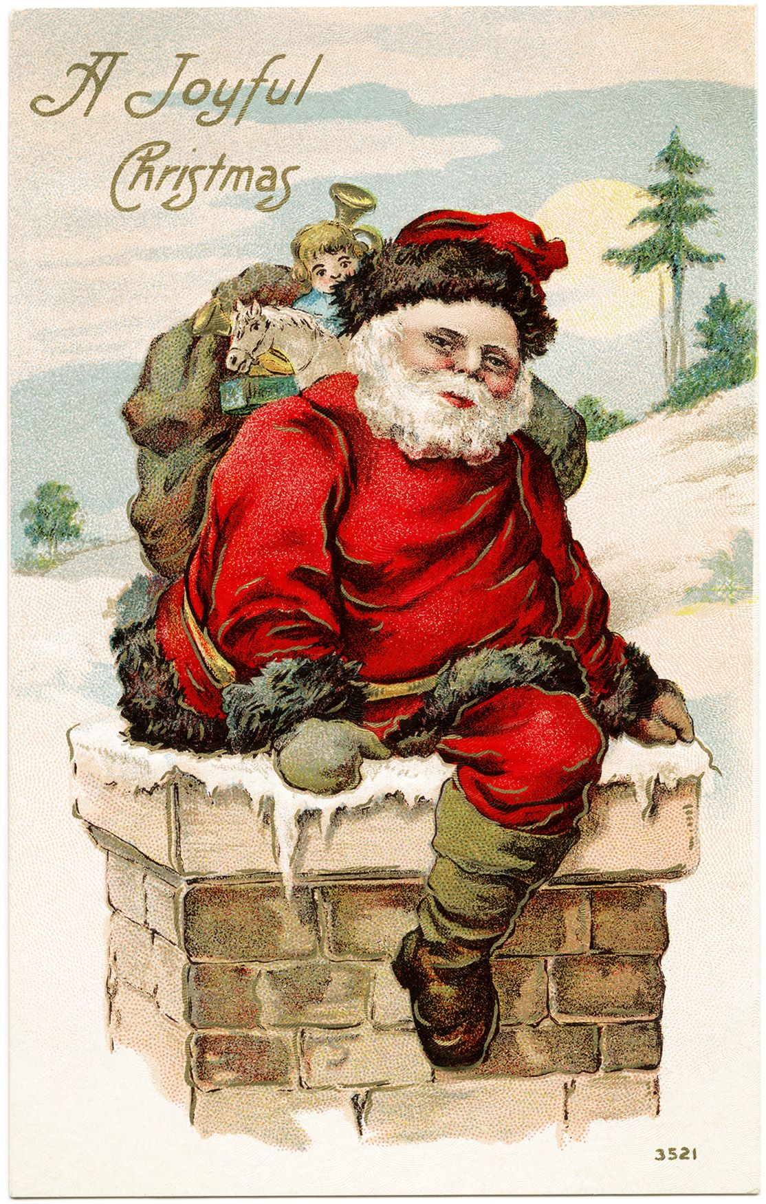 Vintage santa postcard old fashioned christmas card santa in vintage santa postcard old fashioned christmas card santa in chimney joyful christmas greeting kristyandbryce Image collections