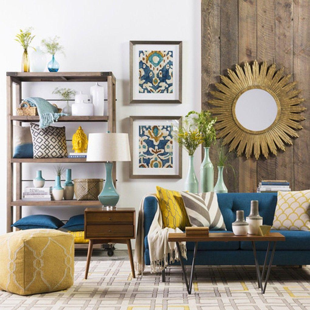 Buddha Head Statue Surya Yellow Turquoise Living Room Design