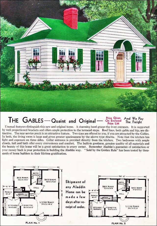 The Gables Kit House Floor Plan Made By The Aladdin Company In Bay City Michigan In 1940 Vintage House Plans Vintage House Plans Sims House Plans