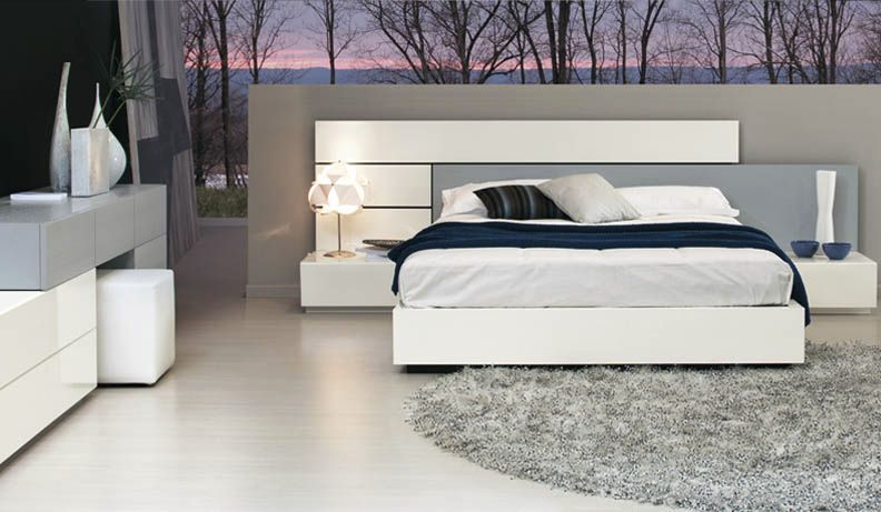 . contemporary double bed with integrated bed side table SKIP Alf Uno