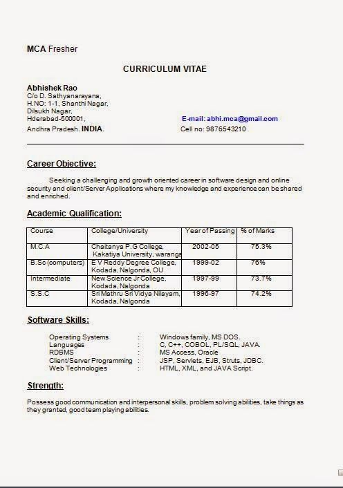 Mca Fresher Resume Format. Curriculum Vitae Phd Beautiful