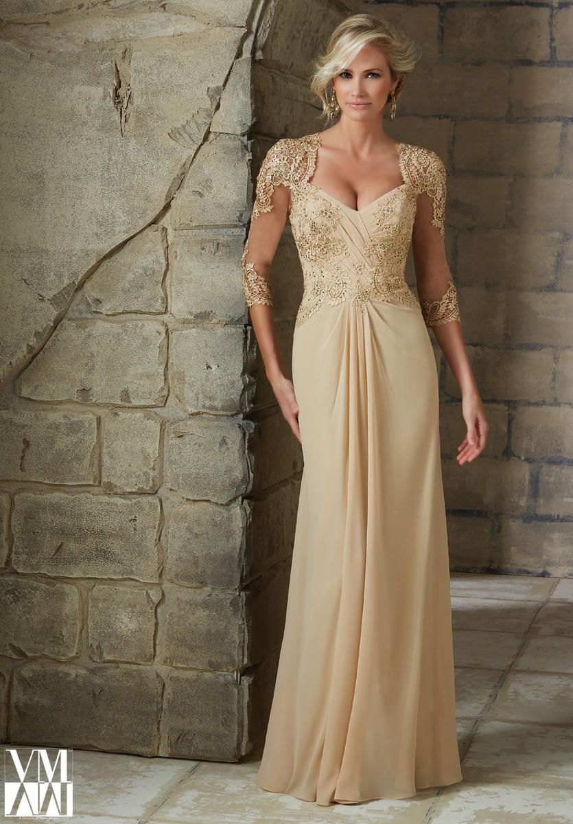 VM Collection 71204 Sheer Three Quarter Sleeve Chiffon Long Mother Of The Bride Dress With Beaded